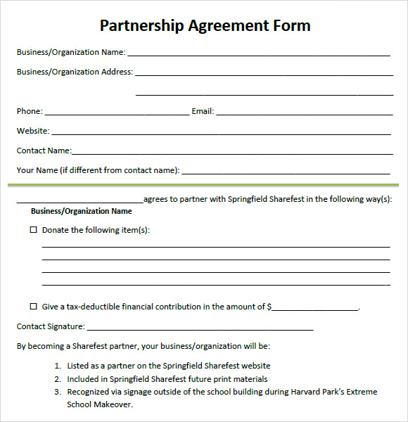 Partnership Agreement 8 Free Samples Examples Format