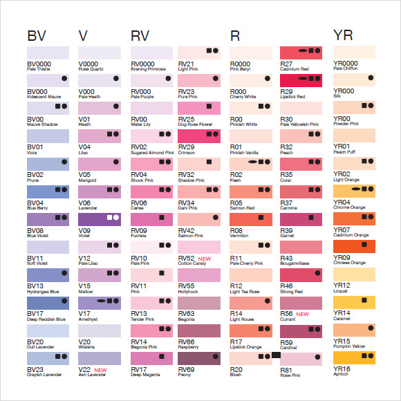 Doc580630 Sample General Color Chart Sample General Color – Sample General Color Chart