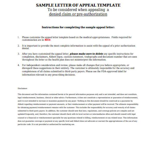general appeal letter template