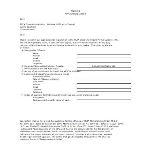 general application letter