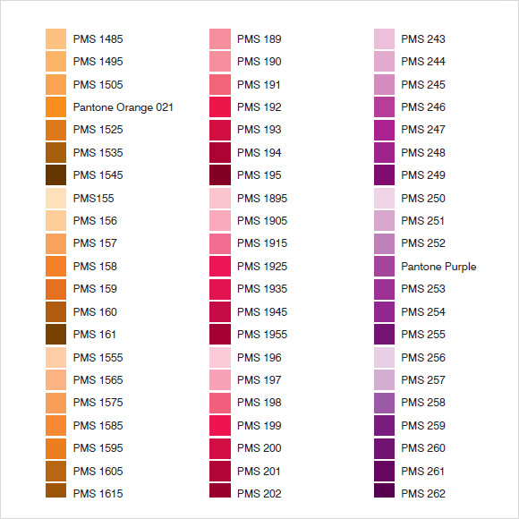 Sample Pantone Color Chart  KakTakTk