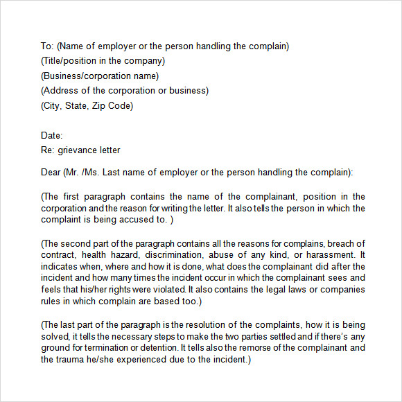 grievance letter template to employer commonpence co