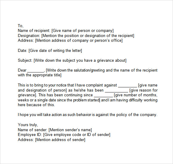14 Sample Grievance Letters Pdf Word