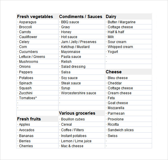 grocery list template excel