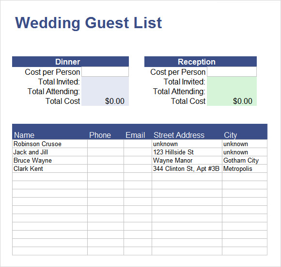 guest list template excel