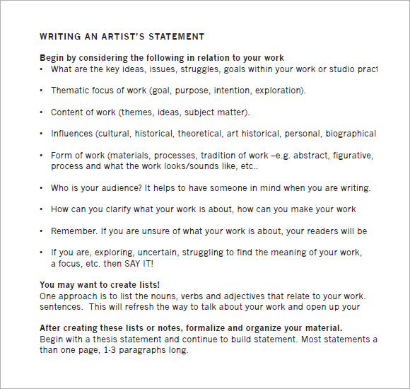 writing an artist statement How to write and artist bio or artist statement learn what an artist bio and artist statement are and get some great tips on how to write them.