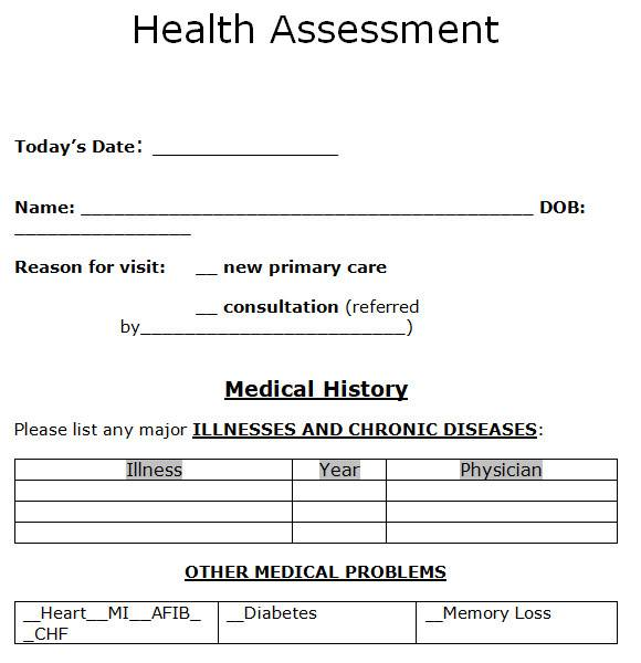 health assessment samples in ms word