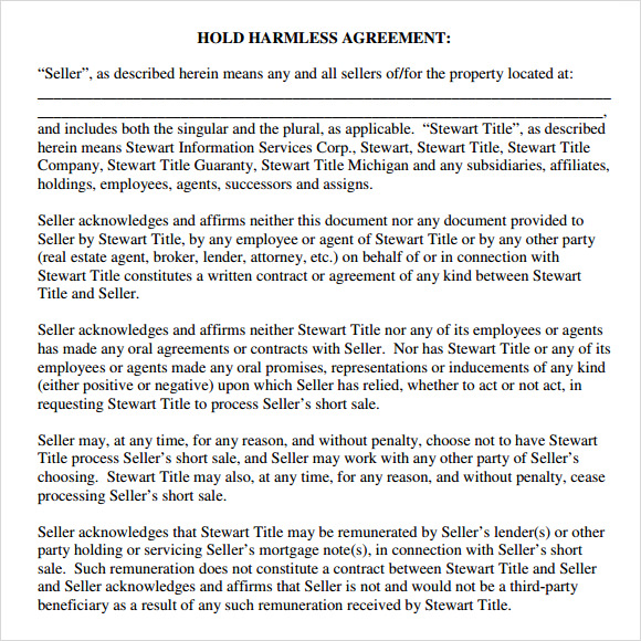 hold harmless agreement real estate