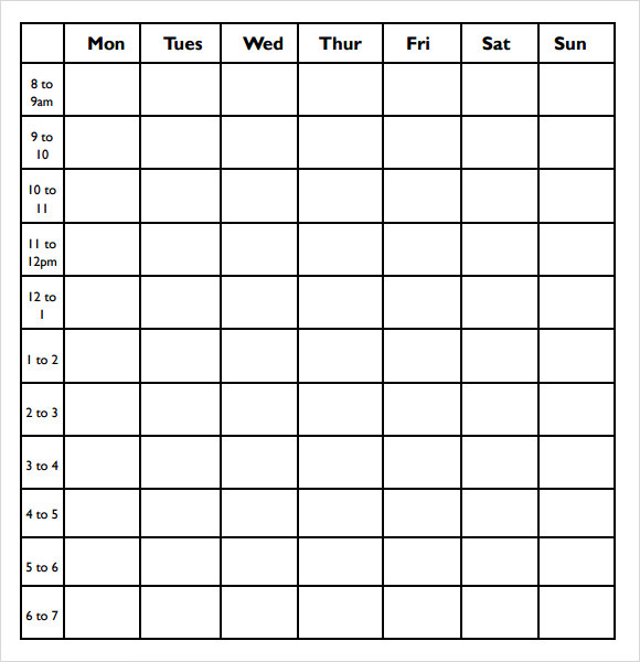 Calendar Templates Hourly : Hourly calendar excel templates xls weekly for