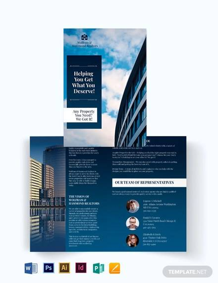 independent real estate agent agency bi fold brochure template