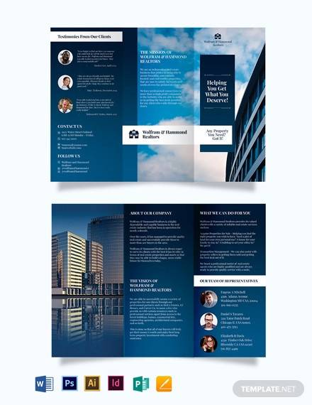 independent real estate agent agency tri fold brochure template