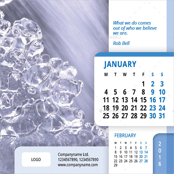 indesign calendar template 2016