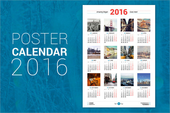 indesign poster calendar template