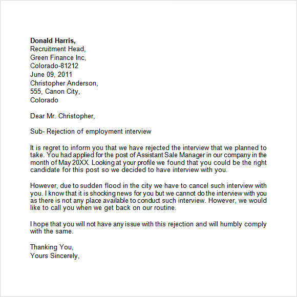 Sample Rejection Letter To Internal Candidate