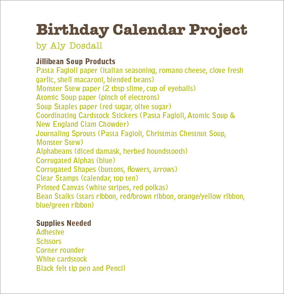 Birthday Calendar   Free Samples  Examples  Format