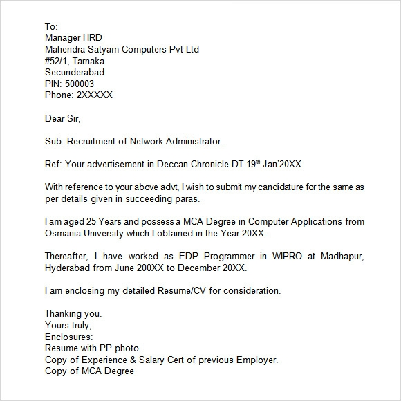 Unsolicited job application letter addressed hr manager