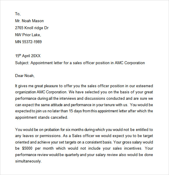 job appointment letter appointment letter for driver sample