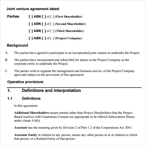Sample Joint Venture Agreement   Documents In Pdf Word