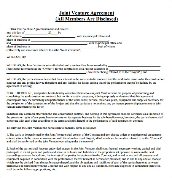 Joint Venture Agreement 8 Free Samples Examples