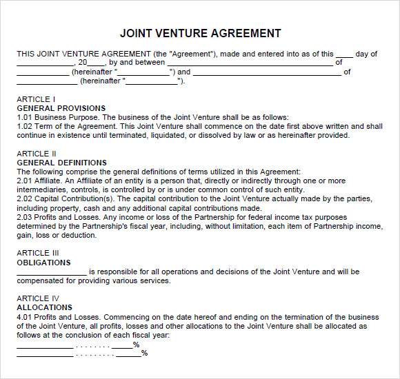 Construction Joint Venture Agreement Template . Partnership Agreement U2013  8+ Free Samples , Examples , Format  Free Joint Venture Agreement Template