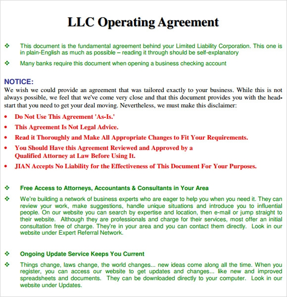 LLC Operating Agreement Template Free