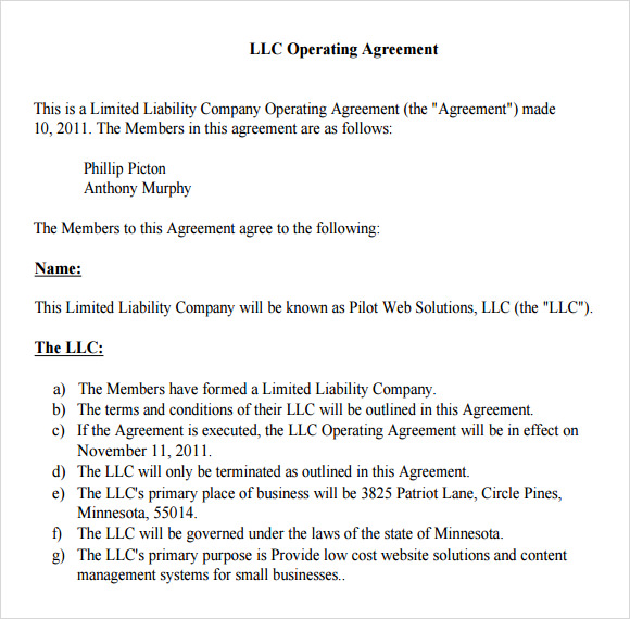 example of llc operating agreement