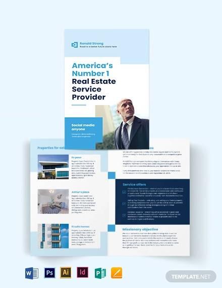 licenced real estate broker agent agency bi fold brochure template