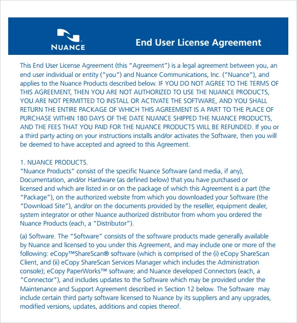 Sample License Agreement   Example Format