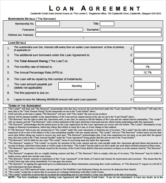 Sample Loan Agreement 8 Documents in PDF Word – Loan Template Agreement
