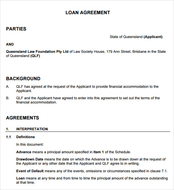 standard loan agreement template .