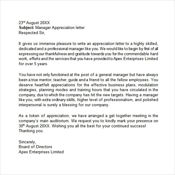 manager appreciation letter