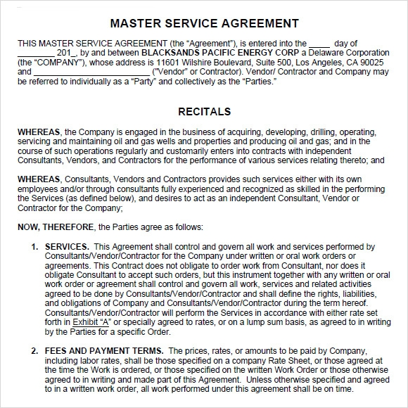 Sample Master Service Agreement   Documents In Pdf Word