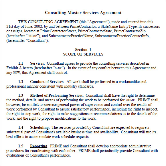 Sample Master Service Agreement   Documents In  Word