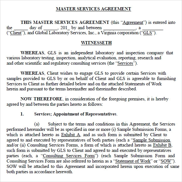 Master Agreement Template