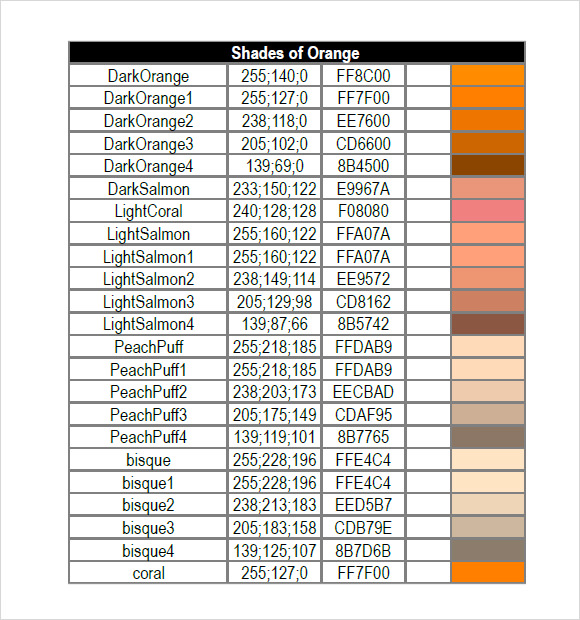 8+ Rgb Color Charts - Free Sample, Example, Format