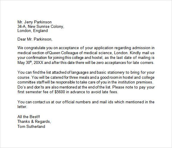 Cover letter for medical school admission