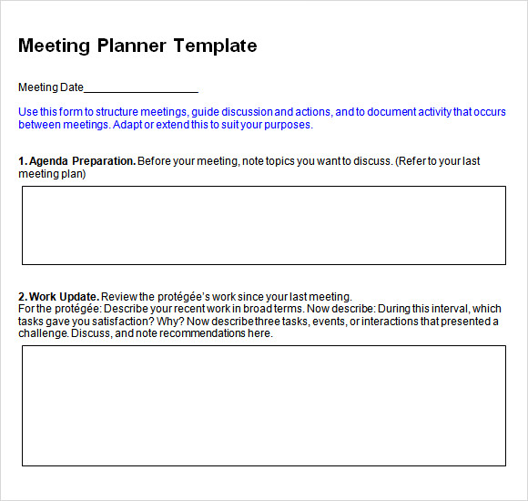 Meeting Planning Template Performance Improvement Plan Template