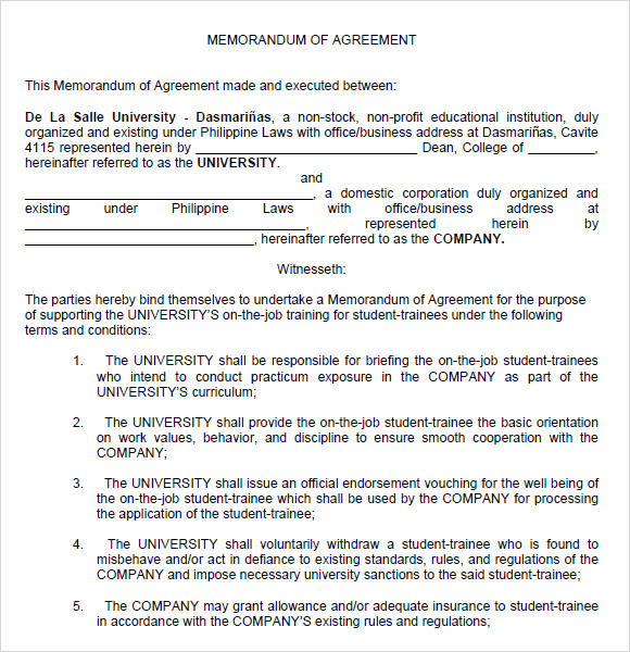 Sample Memorandum of Agreement 7 Documents in PDF Word – Sample Agreements Between Two Parties