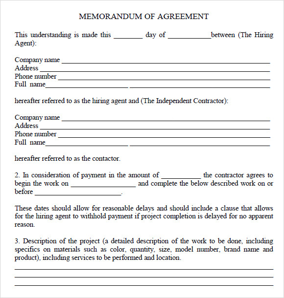 Sample Memorandum Of Agreement   Documents In Pdf Word