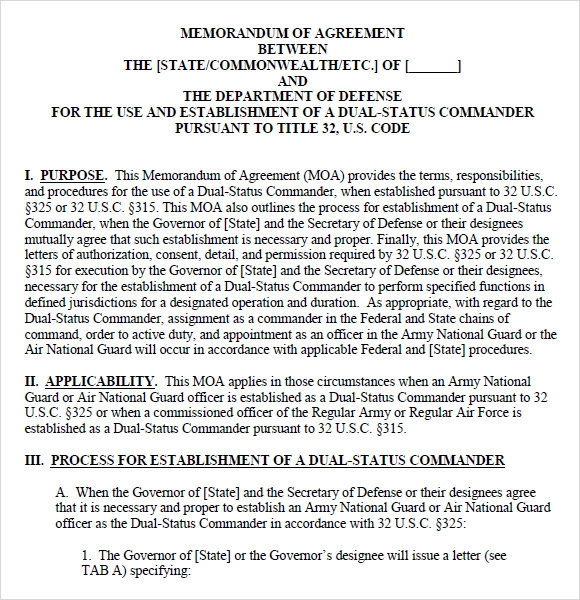 memorandum of agreement template navy