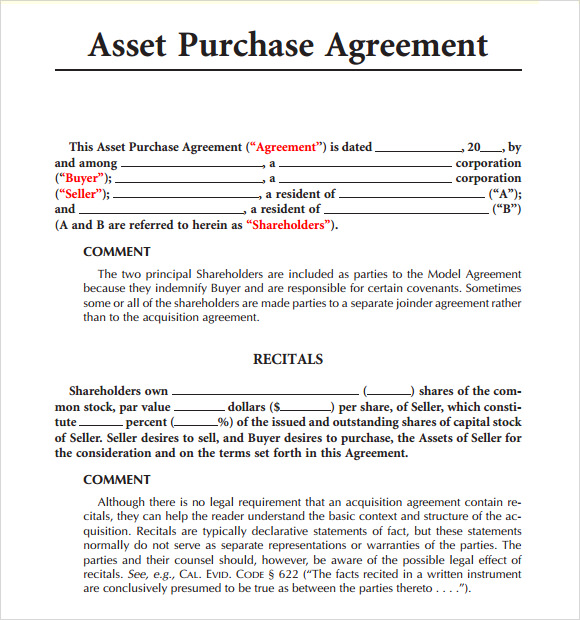 sample asset purchase agreement 8 documents in word pdf
