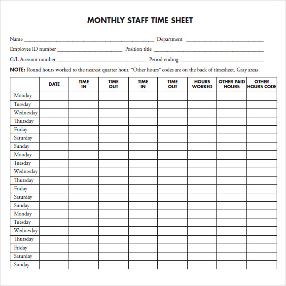 12 sample monthly timesheet templates sample templates