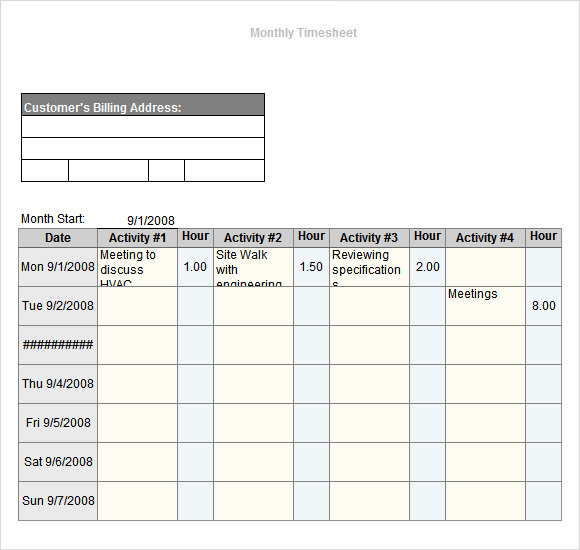 monthly timesheet template excel free download