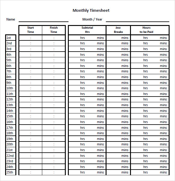 monthly timesheet template pdf