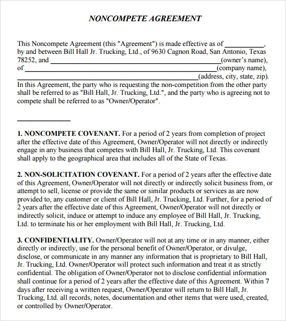 Sample Non Compete Agreement   Documents In Pdf Word