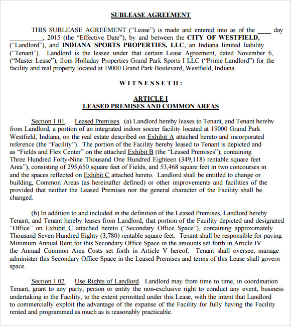 Sublease Agreement Samples Sample Templates - Commercial sublease agreement template