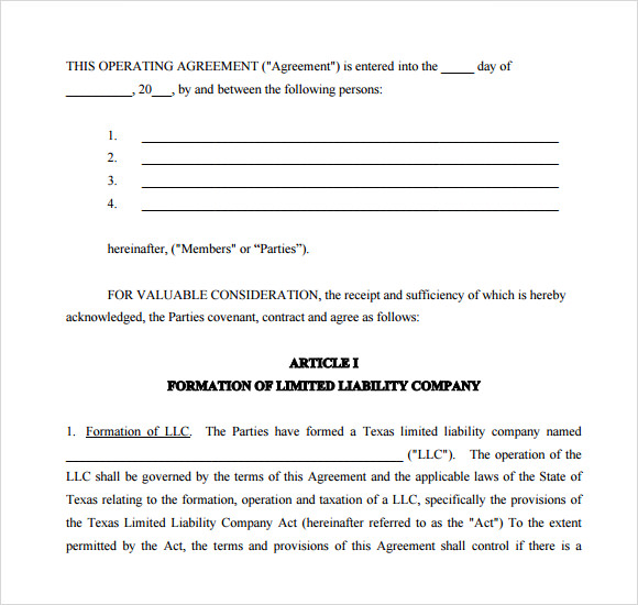 operating agreement sample