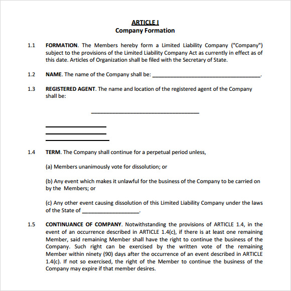 Sample Operating Agreement 9 Examples Format – Llc Operating Agreement