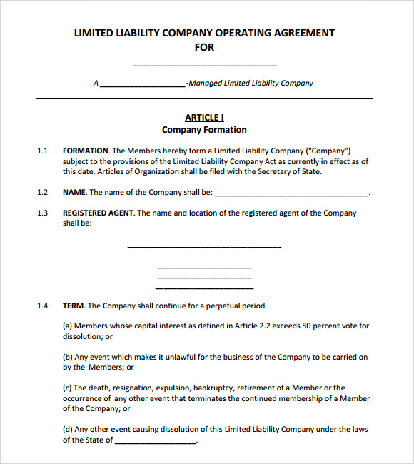Operating Agreement Template   8  Free Samples Examples Format Imn8xE0g