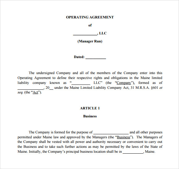 operating agreement template for s corp